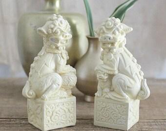 Vintage Pair Of Mini Foo Dog Statues, Disney Souvenirs