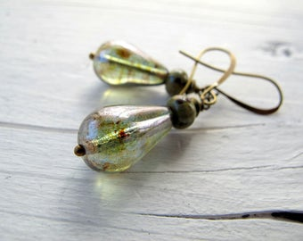 Bohemian Teardrop Earrings,  Czech Glass Dangle Earrings, Hippie Chic Bohemian Bijoux, Clear Green Tear Drop Dangles
