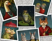 Whimsical Animal Note Cards, Funny Animal Cards, Cute Animal, Animal Portrait, Rabbit, Fox, Dove, Birds, Frog Prince, Goose, Anthropomorphic