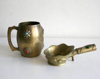 Cabochon Medallion Brass Mug and Ladle