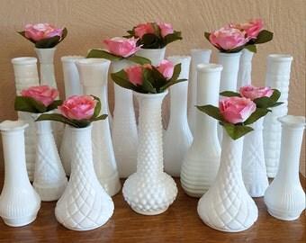 20 Milk Glass Bud Vases - Wedding Centerpiece - Oak Hill Vintage - Lot 11