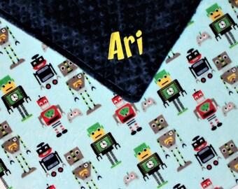 Robots Baby Boy Blanket, Double Minky, Stroller Blanket, Crib Blanket, Navy, Gray, Yellow, Red, Green, Custom, Choose Colors, Robot Nursery