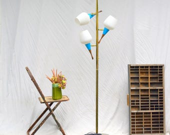 Vintage Brass Triple Pole Lamp: Fantastic Mid Century Modern Atomic Light with 3 Independent Adjustable Glass & Wood Fixtures -- 5ft