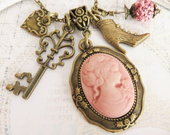 Pink cameo necklaces, charm necklaces, victorian style jewelry, gift for her, romantic jewelry, cosplay style, Renaissance style