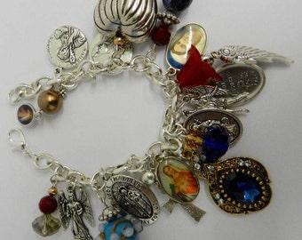 Catholic Charm Bracelet Religious Holy Medal  Christian Bracelet Saints Virgin Beaded Charms 7 1/2 inch Colorful Beaded Jewelry