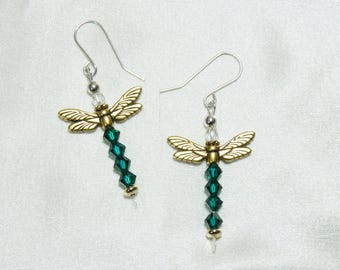 Antique Gold Dragonfly Earrings with Emerald Swarovski Crystal