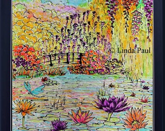 Monet Water Lily Garden Kitchen Backsplash or original Framed Wall Art