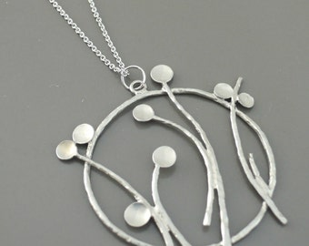 Silver Necklace - Modern Necklace - Flower Necklace - Pendant Necklace - Layered Necklace - Handmade Jewelry