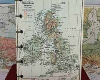 British Isles Travel Sketch Journal with Vintage Britain Geography Map and Coptic-bound Hardcovers
