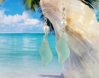 Seafoam seaglass beads conch shell earrings wire wrapped beach earrings coke bottle tumbled glass earrings coastal jewelry