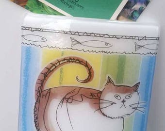 Fused Glass Night Light - Fat Cat