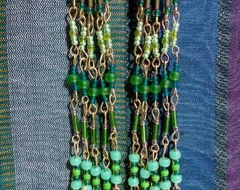 Gold plated long earrings
