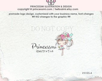 1291-1 girl logo, sweet doll logo, girl fashion, tutu, jewelry business logo, girl illustration drawing logo