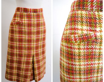 1960s Cream purple green check wool skirt / 60s checked straight skirt - M L