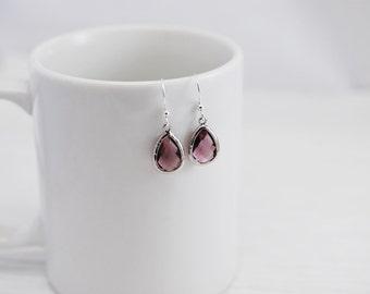 Grape Earrings, Teardrop Earrings, Purple Earrings, Drop Earrings, Silver Earrings, Amethyst Earrings, Bridal Earrings, Bridesmaid Earrings