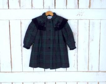 Vintage Braetan kids green/blue tartan plaid wool/velvet swing coat/girls winter wool jacket/5