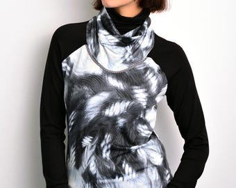 longsleeve black grey feathers by STADTKIND