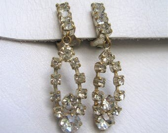 Antique vintage 1960s clear rhinestone clip on Earrings