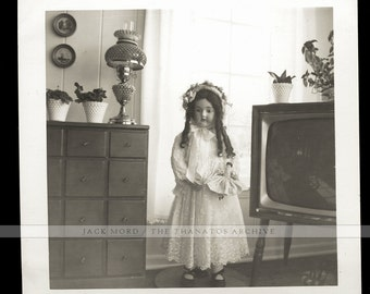 Vintage Snapshot Photo - Creepy Big Doll Standing on Its Own, Holding Little Doll!