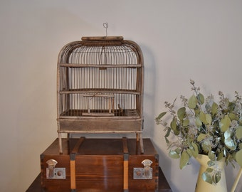 French birdcage, Antique birdcage, Vintage french birdcage, birdhouse, bird decor, birdcage, aviary, vintage birdcage, wooden birdcage,