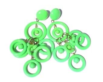 Neon Green Mod Earrings with Long Dangling Plastic Hoops - Vintage 1960s 60s Jewelry