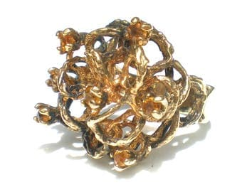 Sterling Silver Ring Gold Plated Sterling with Amber Colored Rhinestones Size 5.25 Modernist ESPO Vintage Jewelry