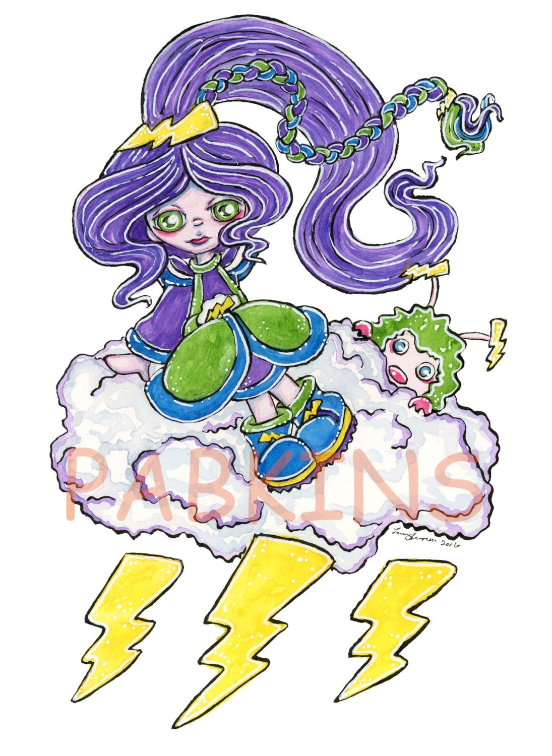 Stormy from Rainbow Brite inspired Fan Art Art PRINT of