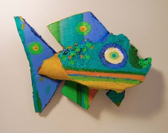 Colorful Whimsical Fish created out of wood found along a lake in Western New York