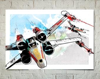 Star Wars Art - X-wing Fighters - Star Wars Poster, Art Print, Star Wars Print, X-Wing Fighter print, fan art, Star Wars watercolor