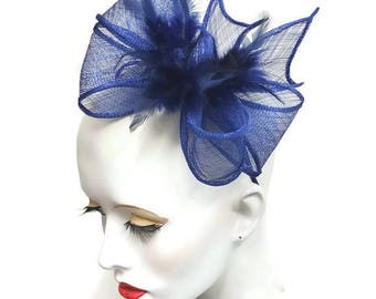 Royal blue cobalt blue fascinator sinamay and feathers headband fixing ideal wedding races