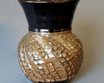 Swirl Hand Cut Vase in Glossy Black and Speckled Bronze Brown Handmade Pottery