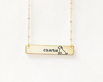 Dog Name Necklace // 14kt Gold //  Name Necklace // Personalized Pet Name // Custom Pet Necklace // Paw Print Necklace // Best Friends