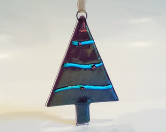 New! Purple Christmas Tree Ornament - Iridized Glass Christmas Tree with Dichroic Accents - Purple Xmas Ornament - Fused Glass Decoration