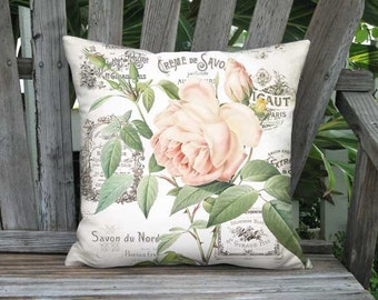 Parfumee Rose Pillow Cover - French Cottage Rose Botanical Pillow - 16x 18x18 20x 22x 24x 26x Inch Linen Cotton Cushion Cover