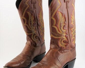 Justin Iguana Lizard Leather Western Boots - Men's Size 9.5 D