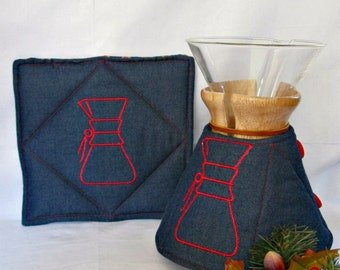 Chemex Cozy and Warming Pad Set-Dark Chambray -Chemex Embroidery-6 cup size wooden collar-unisex gift idea
