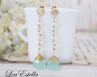 Aqua Gemstone earrinngs, Chalcedony Earrings, Sterling Silver, Freshwater pearls earrings, Mermaid jewelry, seashell earrings - Sea Jewels