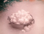 Tiny Miniature White Snowballs for Fairy Garden or Dollhouse Syrofoam winter Display