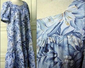 """Vintage 70s Hawaiian MuuMuu Cool BLUE Hibiscus Print - Roomy Fit  Ruffle Hem Washable Cotton 48"""" Hip Short Sleeves"""