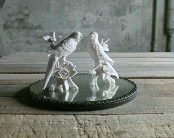 2 Vintage Bisqueware Bird Figurines