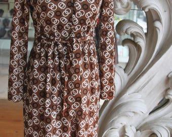 Vintage 1970s Brown Print Secretary Dress