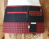 Vendor Apron, Utility Apron, Teacher Apron - Red and Black Buffalo Plaid - Ready to Ship
