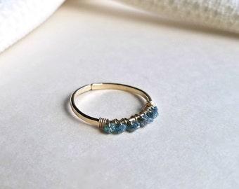Raw Blue Diamond Ring, Rough Diamond Ring, Wire Diamond Ring, Adjustable Diamond Ring, Conflict Free Diamonds