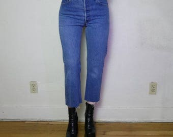 90s medium dark blue wash 501 high waisted distressed denim 28 in waist