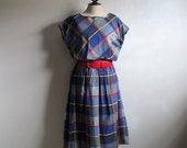 Blue Plaid 80s Dress St Michael Plaid Cotton Summer Dirndl Sleeveless 1980s Plus Size Dress 16