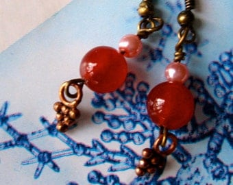 Red Carnelian Earrings, Red and Pink Earrings,  Tiny Red and Pink Earrings, Brass Earrings
