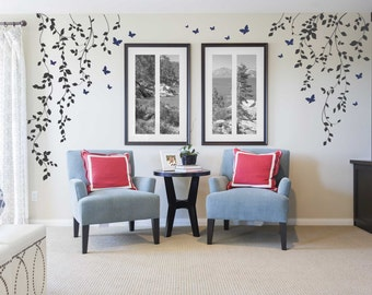 Butterflies and Hanging Vines Wall Decal for Baby Girl Nursery with Butterflies - White Tree Branch Wall Decals - Nursery Wall Decor