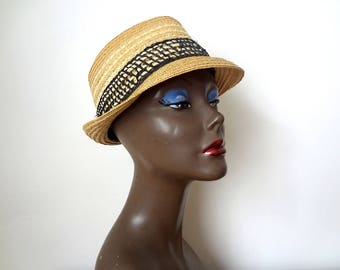 Vintage 1950s-60s Straw Hat - woven fedora sun hat from Italy