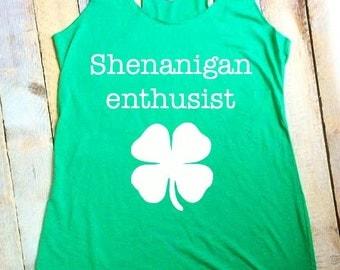 Shenanigan Enthusiast green women's tank
