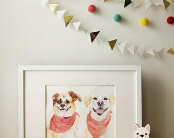 Custom Pet Portrait, Original Watercolor - 2 dogs